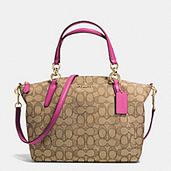 COACH F36625 Small Kelsey Satchel In Signature IMITATION GOLD/KHAKI/DAHLIA