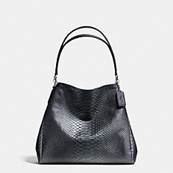 COACH F36627 - PHOEBE SHOULDER BAG IN METALLIC SNAKE EMBOSSED LEATHER SILVER/GUNMETAL