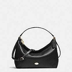 EAST/WEST CELESTE CONVERTIBLE HOBO IN PEBBLE LEATHER - f36628 - IMITATION GOLD/BLACK