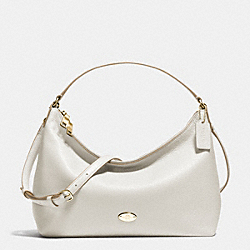 EAST/WEST CELESTE CONVERTIBLE HOBO IN PEBBLE LEATHER - f36628 - IMITATION GOLD/CHALK