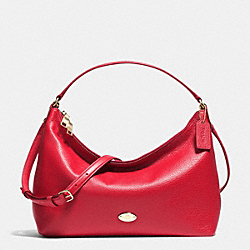 EAST/WEST CELESTE CONVERTIBLE HOBO IN PEBBLE LEATHER - f36628 - IMITATION GOLD/CLASSIC RED