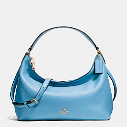 EAST/WEST CELESTE CONVERTIBLE HOBO IN PEBBLE LEATHER - f36628 - IMITATION GOLD/BLUEJAY