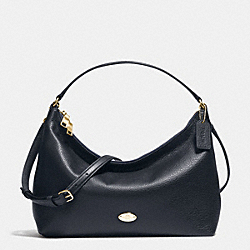 EAST/WEST CELESTE CONVERTIBLE HOBO IN PEBBLE LEATHER - f36628 - IMITATION GOLD/MIDNIGHT