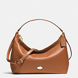 EAST/WEST CELESTE CONVERTIBLE HOBO IN PEBBLE LEATHER - f36628 - IMITATION GOLD/SADDLE