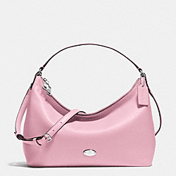 EAST/WEST CELESTE CONVERTIBLE HOBO IN PEBBLE LEATHER - f36628 - SILVER/PETAL