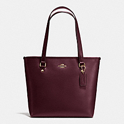 ZIP TOP TOTE IN CROSSGRAIN LEATHER - f36632 - IMITATION GOLD/OXBLOOD 1
