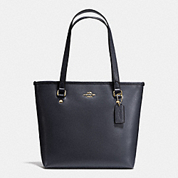 COACH F36632 - ZIP TOP TOTE IN CROSSGRAIN LEATHER IMITATION GOLD/MIDNIGHT