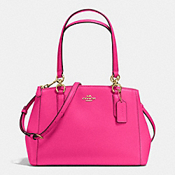 COACH F36637 - SMALL CHRISTIE CARRYALL IN CROSSGRAIN LEATHER IMITATION GOLD/PINK RUBY
