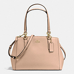 COACH F36637 - SMALL CHRISTIE CARRYALL IN CROSSGRAIN LEATHER IMITATION GOLD/BEECHWOOD