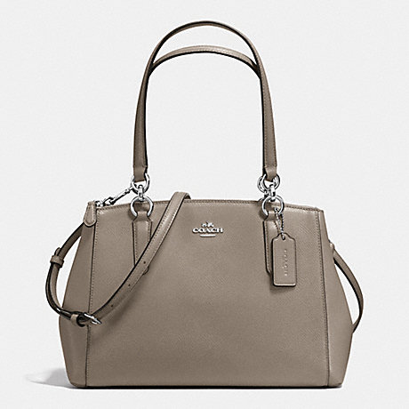 bc9f0e6c7af82 COACH f36637 SMALL CHRISTIE CARRYALL IN CROSSGRAIN LEATHER SILVER FOG