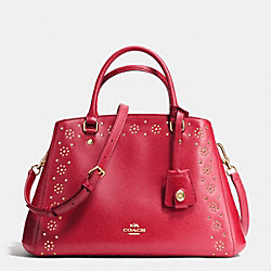 COACH F36640 - BORDER STUD SMALL MARGOT CARRYALL IN CROSSGRAIN LEATHER IMITATION GOLD/CLASSIC RED