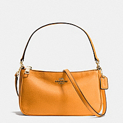 COACH F36645 - TOP HANDLE POUCH IN PEBBLE LEATHER IMITATION GOLD/ORANGE PEEL