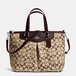COACH F36653 - PLEAT TOTE IN SIGNATURE SILVER/KHAKI/MAHOGANY