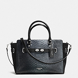 COACH F36655 - BLAKE CARRYALL IN METALLIC EXOTIC EMBOSSED LEATHER SILVER/BLACK/GUNMETAL