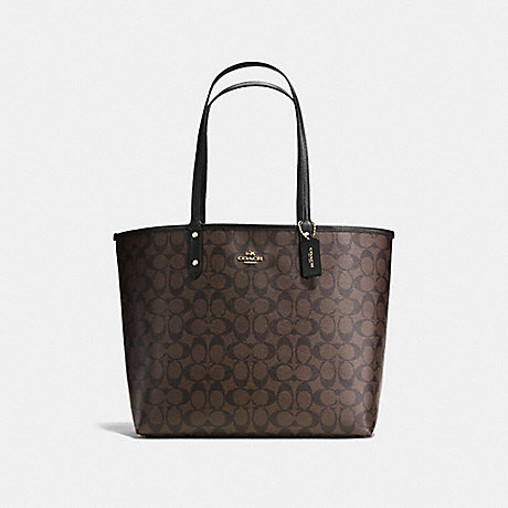 COACH F36658 REVERSIBLE CITY TOTE IN SIGNATURE CANVAS BROWN/BLACK/LIGHT-GOLD