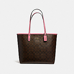 REVERSIBLE CITY TOTE - f36658 - LIGHT GOLD/BROWN ROUGE
