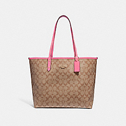 REVERSIBLE CITY TOTE IN SIGNATURE CANVAS - F36658 - KHAKI/PINK RUBY/GOLD