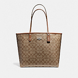 COACH REVERSIBLE CITY TOTE IN SIGNATURE COATED CANVAS - LIGHT GOLD/KHAKI - F36658