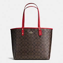 COACH F36658 Reversible City Tote In Signature IMITATION GOLD/BROWN/CLASSIC RED