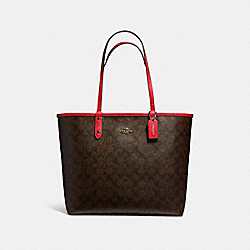 REVERSIBLE CITY TOTE - f36658 - LIGHT GOLD/BROWN