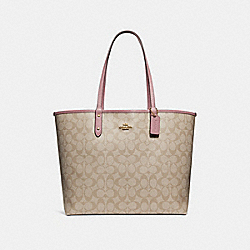 COACH F36658 Reversible City Tote LIGHT KHAKI/VINTAGE PINK/IMITATION GOLD