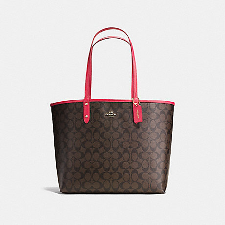 COACH F36658 REVERSIBLE CITY TOTE IN SIGNATURE CANVAS BROWN/NEON PINK/LIGHT GOLD