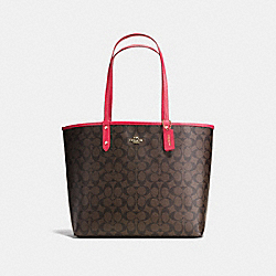 REVERSIBLE CITY TOTE IN SIGNATURE CANVAS - F36658 - BROWN/NEON PINK/LIGHT GOLD