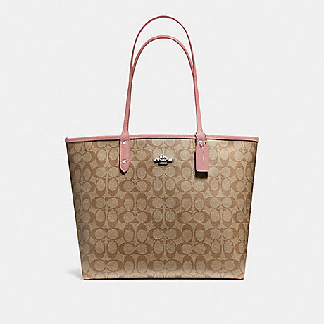 COACH F36658 REVERSIBLE CITY TOTE IN SIGNATURE CANVAS<br>蔻驰可逆城市。签名画布 卡其/瓣/银