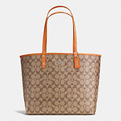 COACH F36658 Reversible City Tote In Signature SILVER/KHAKI/ORANGE PEEL