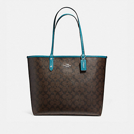 COACH f36658 REVERSIBLE CITY TOTE IN SIGNATURE COATED CANVAS SILVER/BROWN