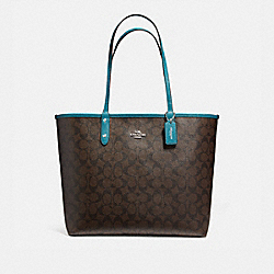 REVERSIBLE CITY TOTE IN SIGNATURE COATED CANVAS - f36658 - SILVER/BROWN