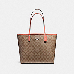 COACH F36658 Reversible City Tote In Signature Canvas KHAKI/ORANGE RED/SILVER