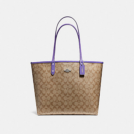 COACH F36658 REVERSIBLE CITY TOTE IN SIGNATURE CANVAS<br>蔻驰可逆城市。签名画布 卡其色和淡紫色,银色