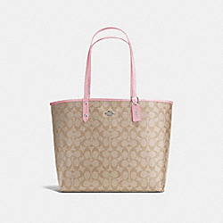 REVERSIBLE CITY TOTE IN SIGNATURE CANVAS - F36658 - LIGHT KHAKI/CARNATION/SILVER