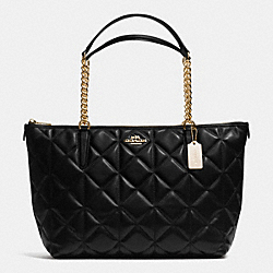 COACH F36661 Ava Chain Tote In Quilted Leather IMITATION GOLD/BLACK