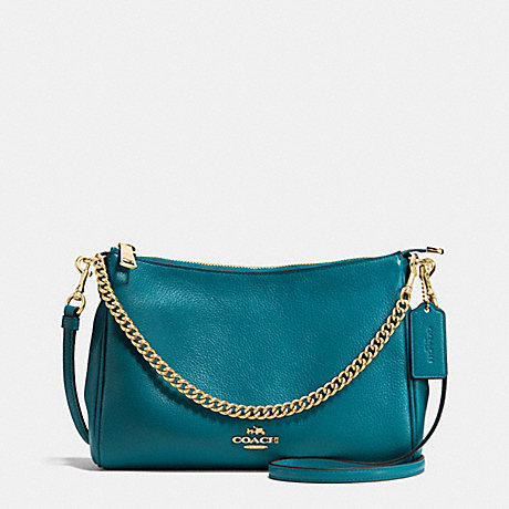 COACH F36666 CARRIE CROSSBODY IN PEBBLE LEATHER IMITATION-GOLD/ATLANTIC