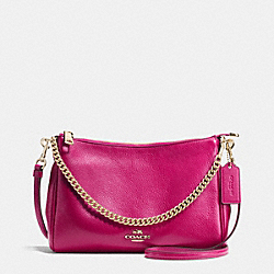 COACH F36666 - CARRIE CROSSBODY IN PEBBLE LEATHER IMITATION GOLD/CRANBERRY