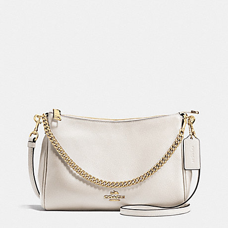 COACH f36666 CARRIE CROSSBODY IN PEBBLE LEATHER IMITATION GOLD/CHALK