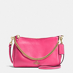 COACH F36666 Carrie Crossbody In Pebble Leather IMITATION GOLD/DAHLIA