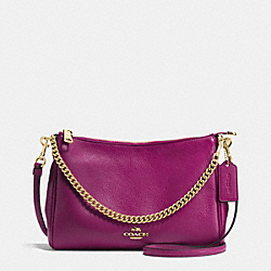 COACH F36666 Carrie Crossbody In Pebble Leather IMITATION GOLD/FUCHSIA