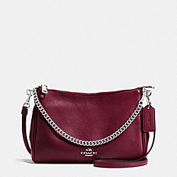 CARRIE CROSSBODY IN PEBBLE LEATHER - f36666 - SILVER/BURGUNDY