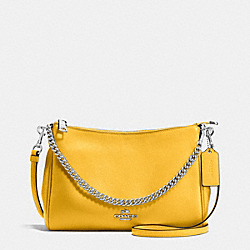 CARRIE CROSSBODY IN PEBBLE LEATHER - f36666 - SILVER/CANARY