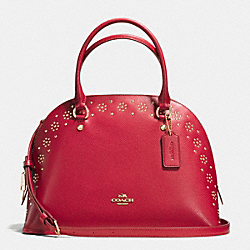 COACH F36669 - BORDER STUD CORA DOMED SATCHEL IN CROSSGRAIN LEATHER IMITATION GOLD/CLASSIC RED