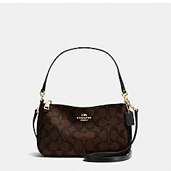 COACH F36674 - TOP HANDLE POUCH IN SIGNATURE IMITATION GOLD/BROWN/BLACK