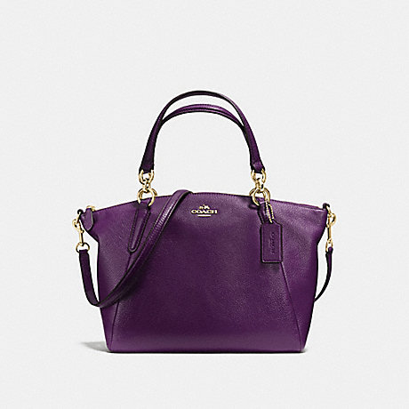 COACH f36675 SMALL KELSEY SATCHEL IN PEBBLE LEATHER IMITATION GOLD/AUBERGINE