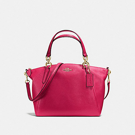 COACH f36675 SMALL KELSEY SATCHEL IN PEBBLE LEATHER IMITATION GOLD/BRIGHT PINK