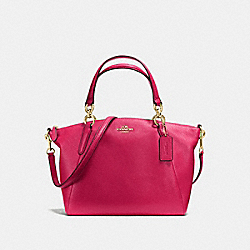 SMALL KELSEY SATCHEL IN PEBBLE LEATHER - f36675 - IMITATION GOLD/BRIGHT PINK