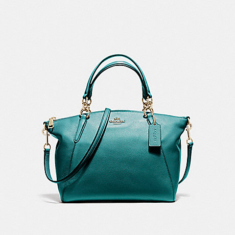 COACH f36675 SMALL KELSEY SATCHEL IN PEBBLE LEATHER LIGHT GOLD/DARK TEAL