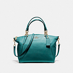 SMALL KELSEY SATCHEL IN PEBBLE LEATHER - f36675 - LIGHT GOLD/DARK TEAL