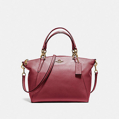 COACH f36675 SMALL KELSEY SATCHEL IN PEBBLE LEATHER LIGHT GOLD/CRIMSON